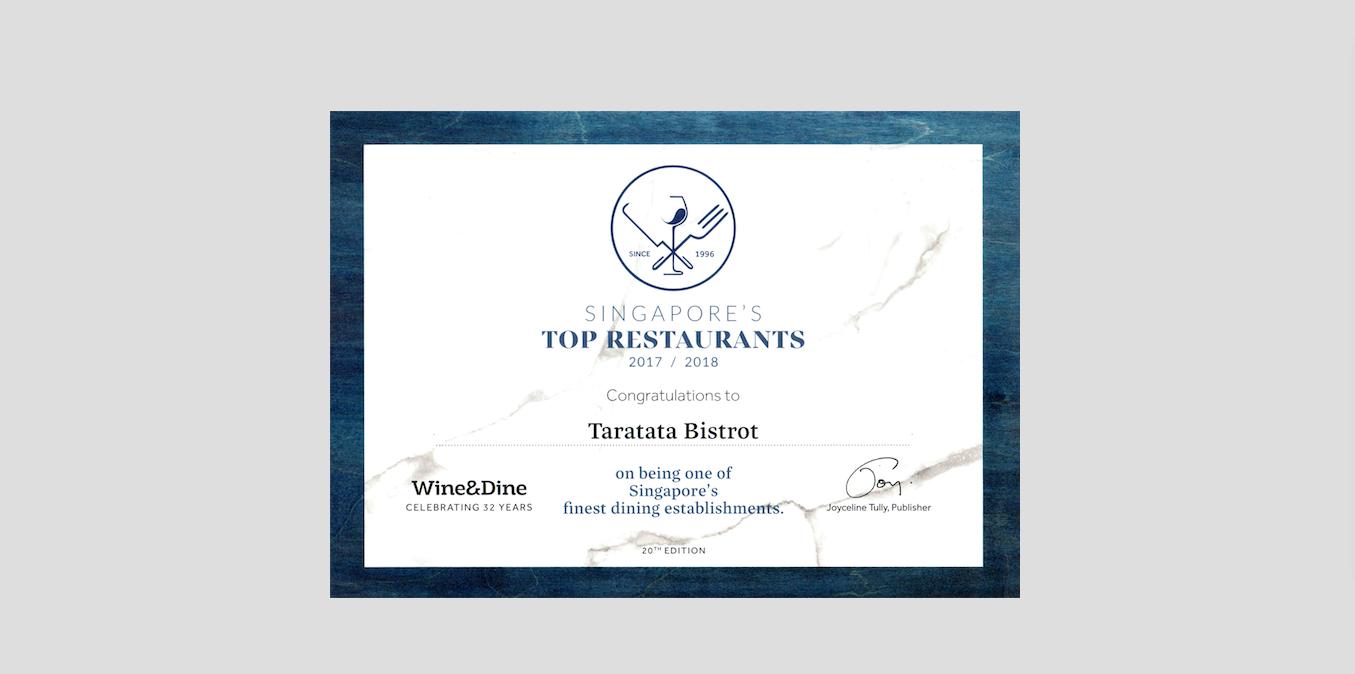 Wine & Dine Singapore's Top Restaurants 2017 / 2018